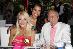 Crystal Hefner, Raquel Pomplun and Hugh Hefner