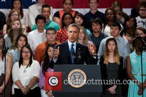 President Barack Obama - President Barack Obama delivers a speech at Manor New Tech High School in Manor, Texas, USA...
