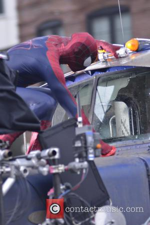 Andrew Garfield - Andrew Garfield and Paul Giamatti filming an action scene on the set of 'The Amazing Spider-Man 2'...