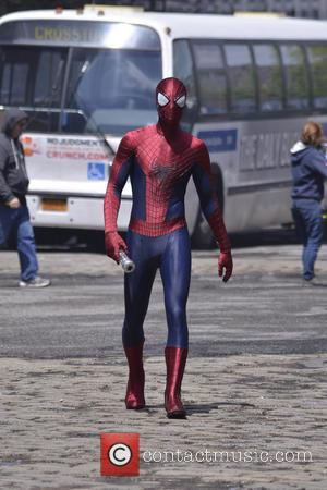 Spider Man And His Mini-me Filmed On The Set Of 2014'S 'The Amazing Spider Man 2' [Photos]