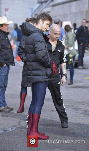 Andrew Garfield and Paul Giamatti - Andrew Garfileld and Paul Giamatti film scenes on location for 'The Amazing Spider-man 2'...