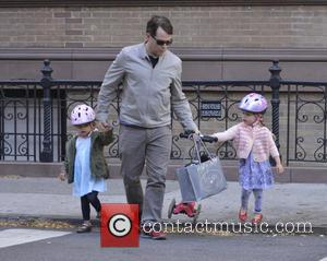 Matthew Broderick, Tabitha Broderick and Marion Broderick - Matthew Broderick takes his children to school in the West Village -...