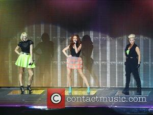 Kerry Katona, Liz McClarnon, Natasha Hamilton and Atomic Kitten - Atomic Kitten performing on stage during the Big Reunion Tour...