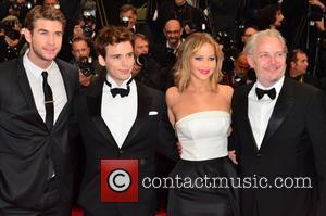 Liam Hemsworth, Jennifer Lawrence, Sam Claflin and Francis Lawrence