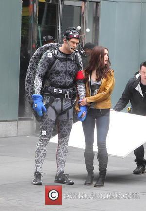 Alan Ritchson and Megan Fox - Actors on the set of 'Teenage Mutant Ninja Turtles' - NY, NY, United States...
