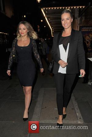 Kimberley Walsh and Denise Van Outen - Kimberley Walsh and Denise Van Outen leaving the press night of 'Relatively Speaking'...
