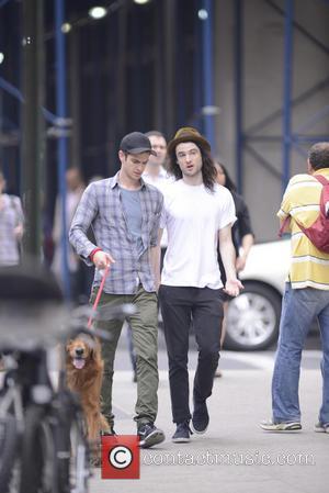 Andrew Garfield and Tom Sturridge - Andrew Garfield walks his dog with Tom Sturridge in Manhattan - New York, NY,...