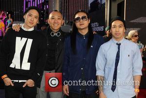 Kev Nish, DJ Virman, Prohgress, J-Splif and Virman Coquia of Far East Movement - Los Angeles premiere of 'Fast &...