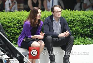 Anton Yelchin and Olivia Thirlby - Filming takes place on location outside the Guggenheim Museum for tv show '5 to...