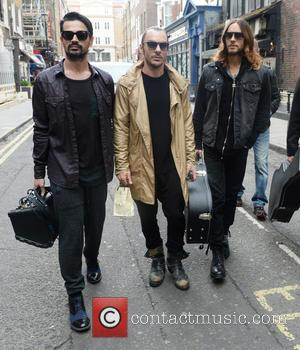 Jared Leto, Shannon Leto and Tomo Milicevic - 30 Seconds to Mars busking in Soho Square to promote their new...