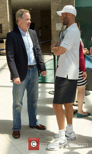 James Blake and Patrick McEnroe - Tennis pros James Blake and Patrick McEnroe attend a press conference to announce a...