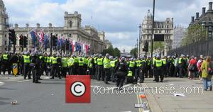 Police - The British National Party demonstration in reaction to the murder of Drummer Lee Rigby is halted by Unite...