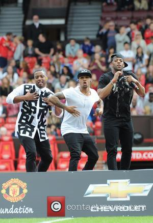 JB Gill, Jonathan Gill, Aston Merrygold and Oritse Williams - Red Heart United concert held at Old Trafford - Manchester,...