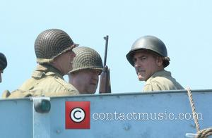 George Clooney - George Clooney and John Goodman filming 'The Monuments Men' on location in Rye - Sussex, United Kingdom...