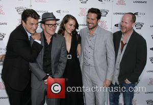 Nathan Fillion, Clark Gregg, Amy Acker, Alexis Denisof and Director Joss Whedon