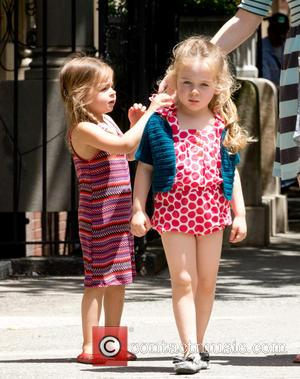 Tabitha Broderick and Marion Broderick - Sarah Jessica Parker's twin daughters Tabitha and Marion Broderick are accompanied by their nanny...