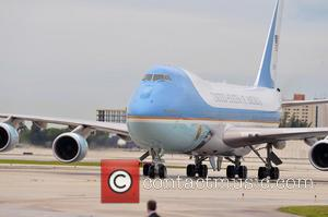 Air Force One - President Barack Obama arrives at Miami International Airport for a private Democratic National Committee (DNC) fundraiser...