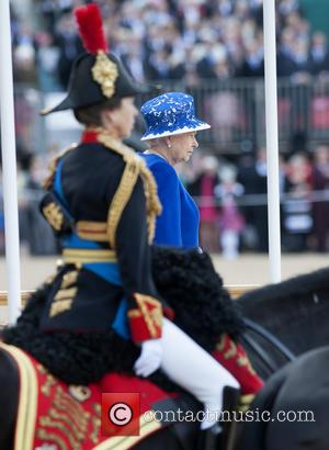 Princess Anne and Queen Elizabeth II - Trooping the Colour 2013 - The Queen's Birthday Parade - Horse Guards Parade...