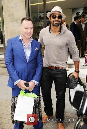 David Furnish and David Haye - Celebrities at Richard James Fashion Show on Park Lane - London, United Kingdom -...
