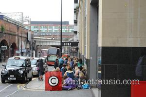 A line of adoring Mark Owen fans queue outside the Ritz Manchester, 6 hours before the singer is due to...
