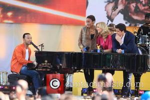 John Legend, Robin Roberts, Lara Spencer and Josh Elliott