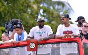 Lebron James and Juwan Howard - Miami Heat celebrate their NBA championship winning season with a victory parade onboard an...