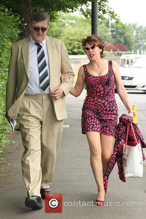 stephen fry and Kathy Lette - Wimbledon Tennis Championship 2013 - Day 3 - Celebrity Sightings - London , United...
