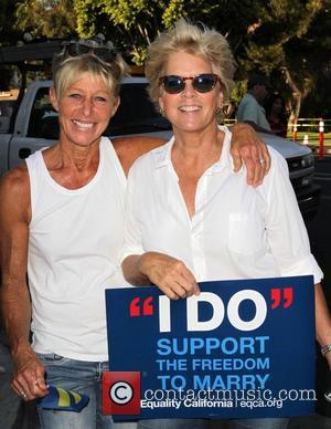 Meredith Baxter and Nancy Locke - West Hollywood Rally to Celebrate the Supreme Courts' Supreme Court Striking Down the Defense...