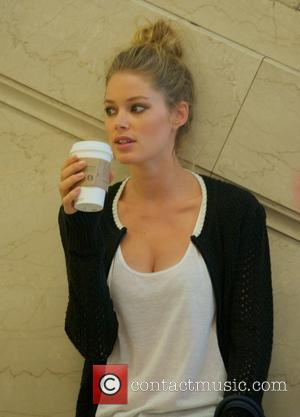 Doutzen Kroes - Doutzen Kroes on the set of a photo shoot for Victoria's Secret in Grand Central Terminal -...