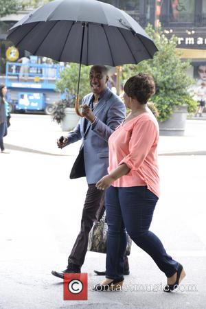 J.B. Smoove - Rosario Dawson and Chris Rock on the set of their new movie 'Finally Famous' in New York...