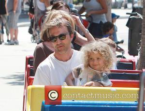 Breckin Meyer and Caitlin Willow Meyer - Breckin Meyer and daughter Caitlin ride the Chop-Chop Train at a farmers market...