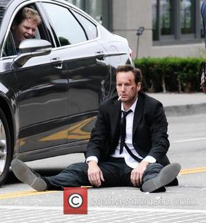 Patrick Wilson - Actors Patrick Wilson and Brooklyn Decker filming on location of their new comedy/thriller movie