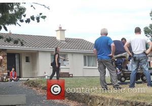 Chris O'Dowd - Actor Chris O'Dowd was assing around on the set of SKY TV's comedy 'Moone Boy' series 3...