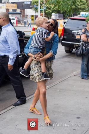 Paula Patton and Julian Fuego Thicke - Paula Patton outside her hotel in Manhattan carrying her son Julian Fuego Thicke...