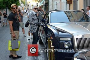 German fashion designer Karl Lagerfeld seen out and about in Saint Tropez - Thursday 1st August 2013