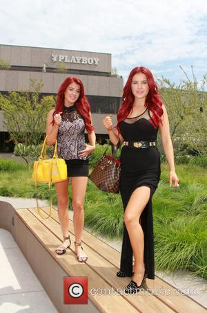 Carla Howe and Melissa Howe - The Howe Twins pose for photographs outside the Playboy headquarters in Los Angeles -...