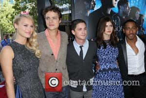 Leven Rambin, Douglas Smith, Logan Lerman, Alexandra Daddario and Brandon T. Jackson