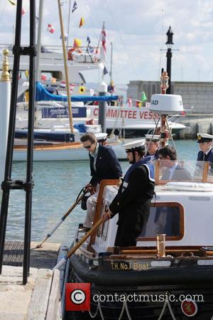 Princess Anne - Princess Anne arrives by boat at Cowes Port to take in the yacht racing during Aberdeen Asset...