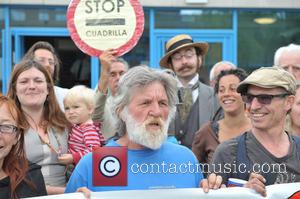 Anti-fracking protesters from Balcombe gather at Crawley Magistrates Court today - Crawley, United Kingdom - Wednesday 14th August 2013