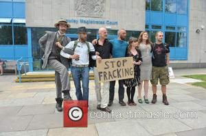 Arrested Protesters L/r Ezra Lynch, Marcin Swiercz, Mark Mansbridge, Justin Preece, Nancey Walker, Frances Crack and Richard Miller