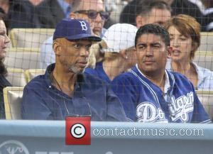 Kareem Abdul-Jabbar - NBA Great Kareem Abdul Jabbar at the Dodgers game. - Los Angeles, CA, United States - Wednesday...