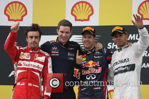 Fernando Alonso, Sebastian Vettel, Germany, Ferrari, Mercedesgp Team - Podium . and Lewis Hamilton