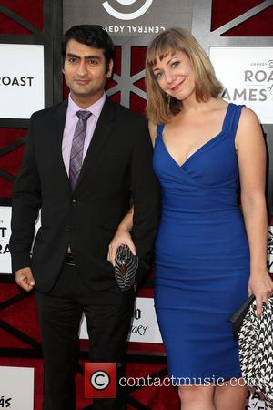 Kumail Nanjiani and Emily Gordan - attends COMEDY CENTRAL Roast of James Franco at Culver Studios - Los Angeles, CA,...