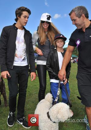 Elle Macpherson, Arpad Flynn Busson and Aurelius Cy Andrea Busson - Pup Aid 2013 dog show held at Primrose Hill...