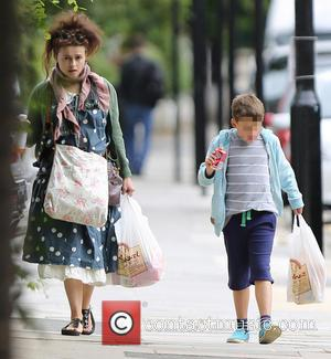 Helena Bonham Carter and Billy Raymond Burton - Helena Bonham Carter and her son Billy Raymond Burton taking a walk...