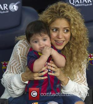 Shakira and Milan Pique Mebarak - Shakira, along with her baby son and mother-in-law, watch her partner Gerard Pique in...