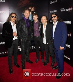 Kirk Hammett, James Hetfield, Dane DeHaan, Lars Ulrich and Robert Trujillo - 'Metallica: Through the Never' San Francisco premiere -...