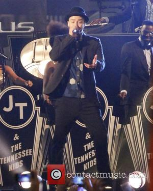 Justin Timberlake - Justin Timerlaes performs outside on Hollywood Blvd for the JImmy Kimmel Show. - Hollywood, CA, United States...