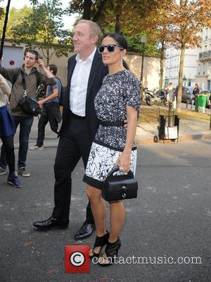 Salma Hayek and François Henri Pinault - Paris Fashion Week Womenswear Spring/Summer 2014 - Balenciaga - Outside Arrivals - Paris,...