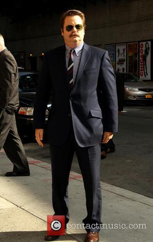 Nick Offerman - Celebrities outside the Ed Sullivan Theater for the 'Late Show with David Letterman' - New York, NY,...